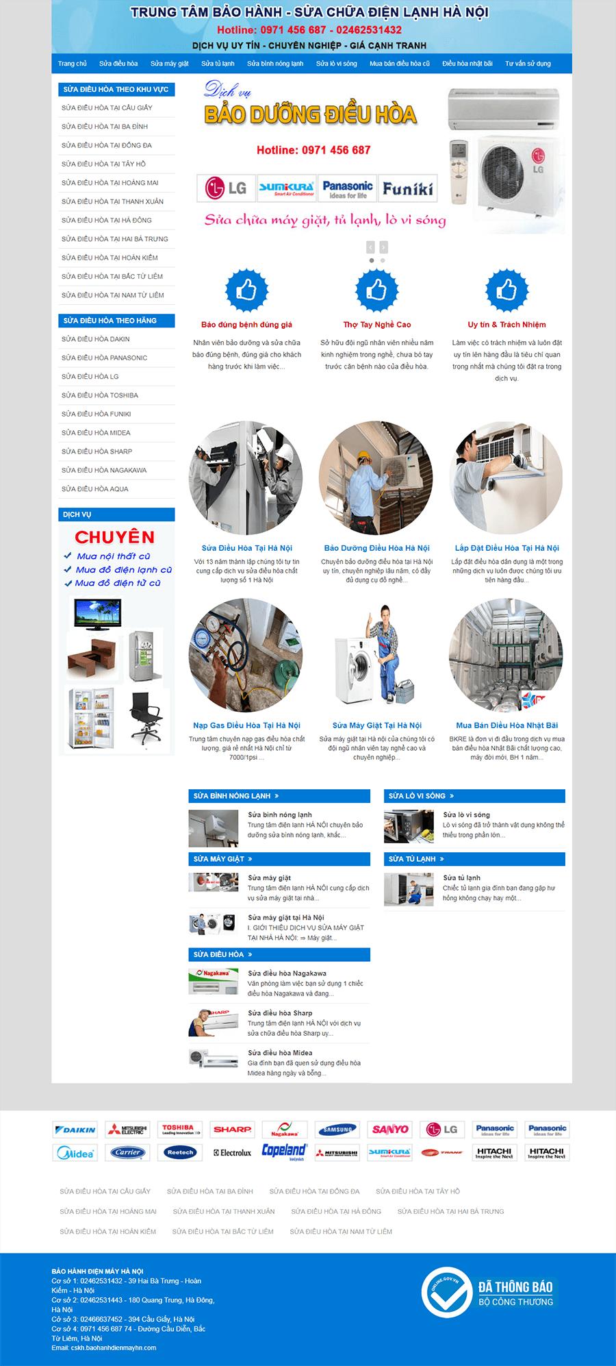 thiết kế web sửa điện lạnh