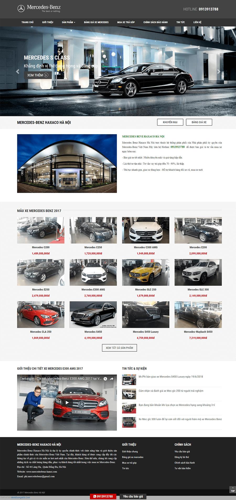 thiết kế website bán ô tô mec