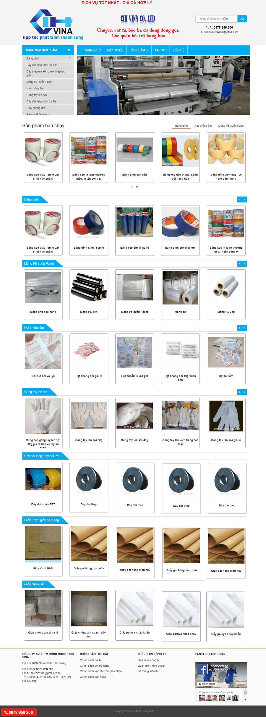 Thiết kế web bán băng dính