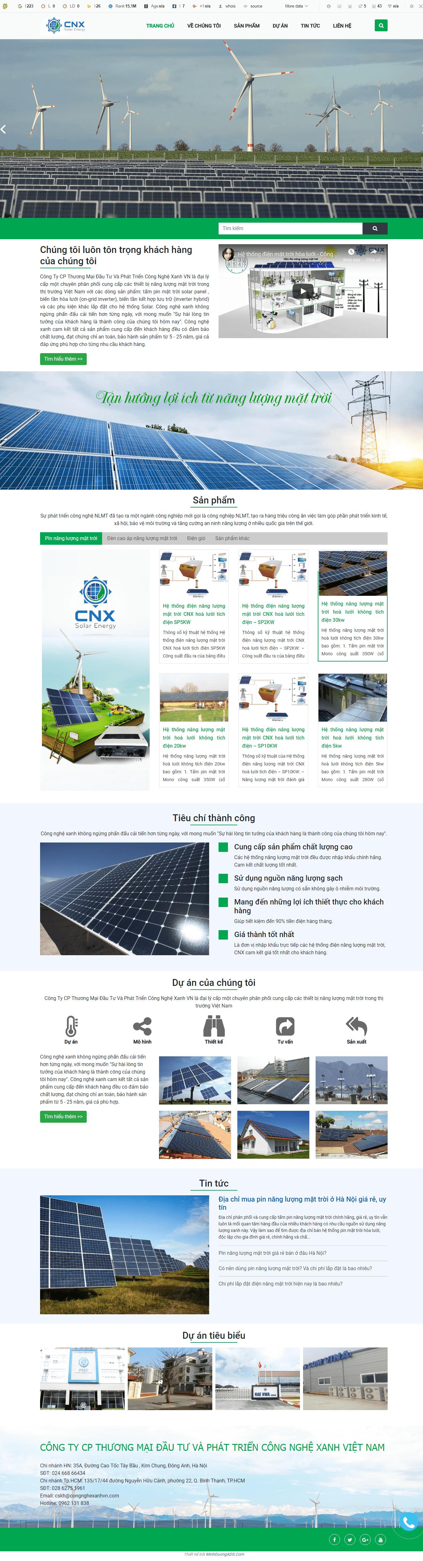 thiết kế website bán hệ thống pin năng lượng mặt trời