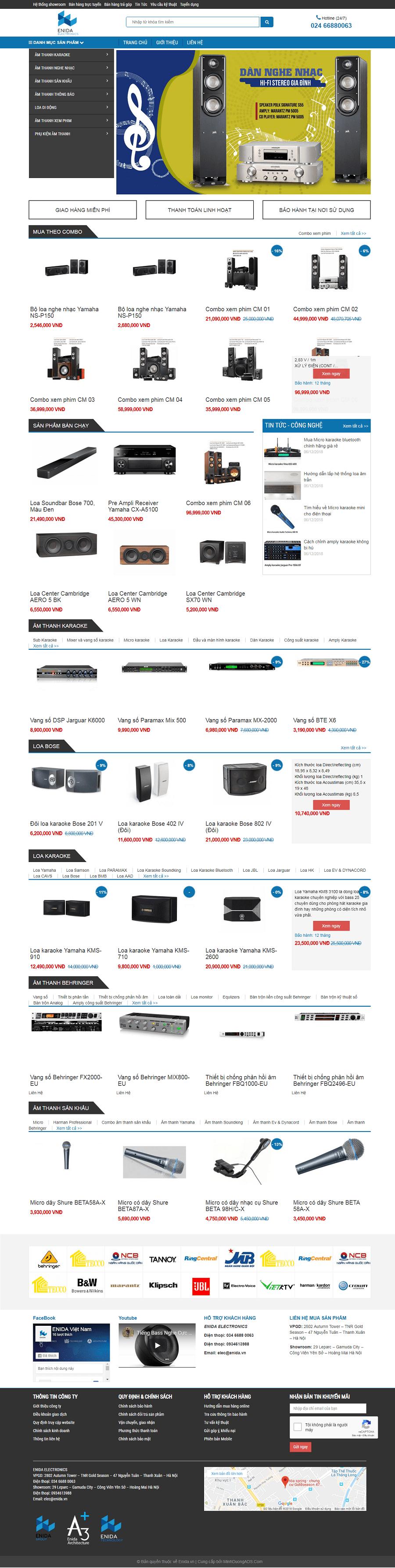 thiết kế website bán loa đài âm thanh