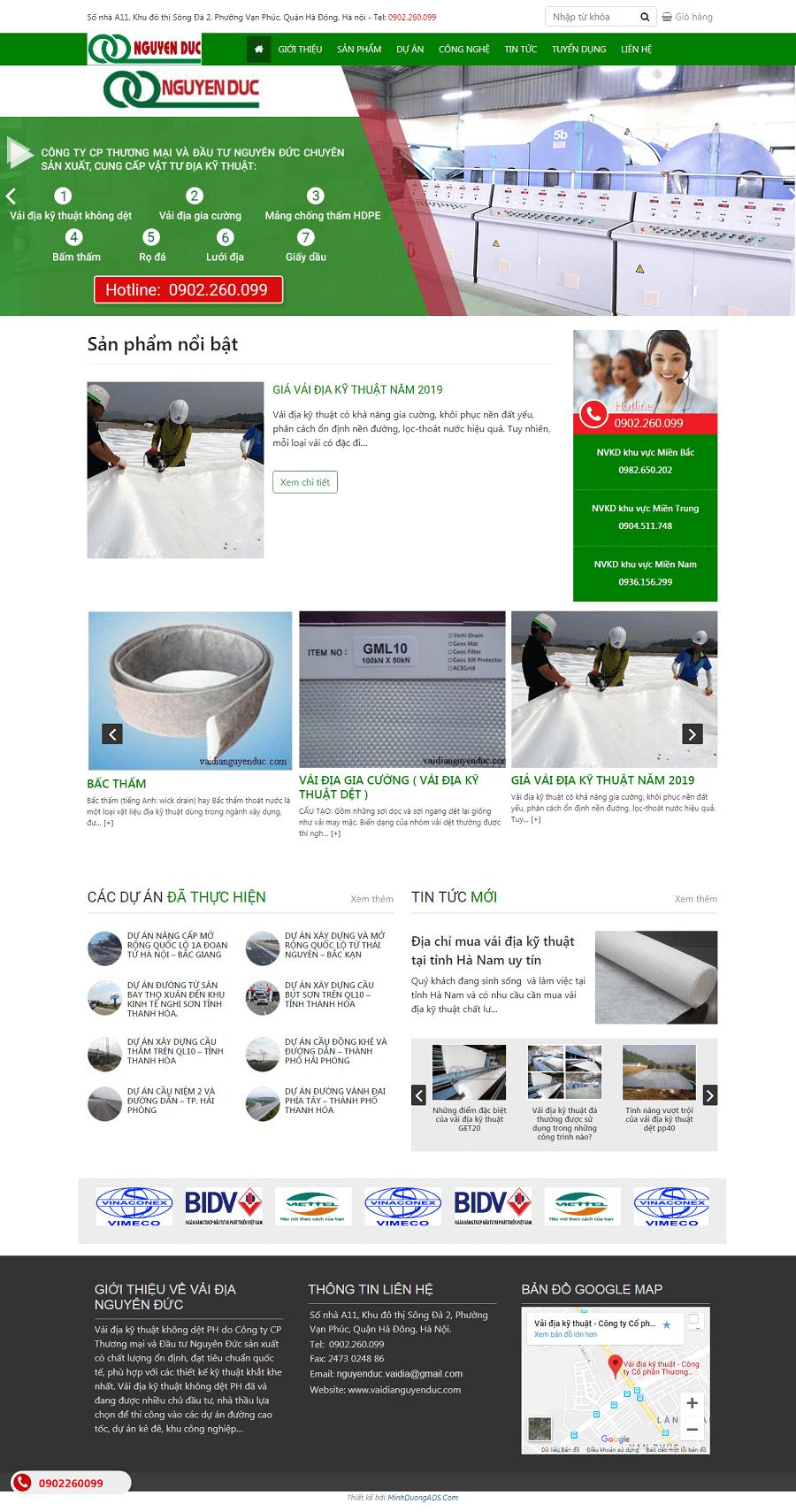 Thiết kế web bán vải địa kỹ thuật