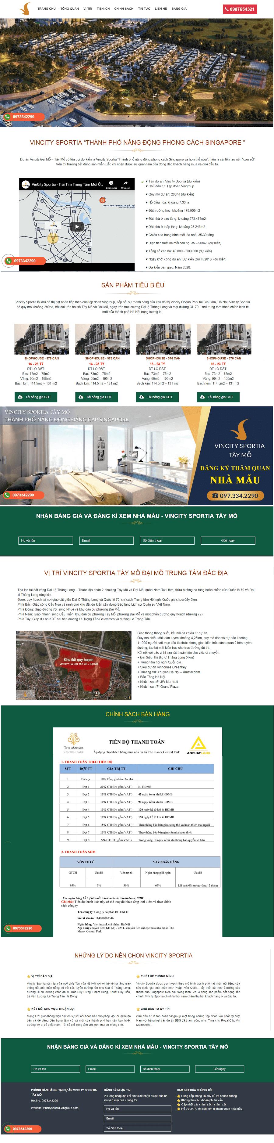 thiết kế web bất động sản Vincity Đại Mỗ