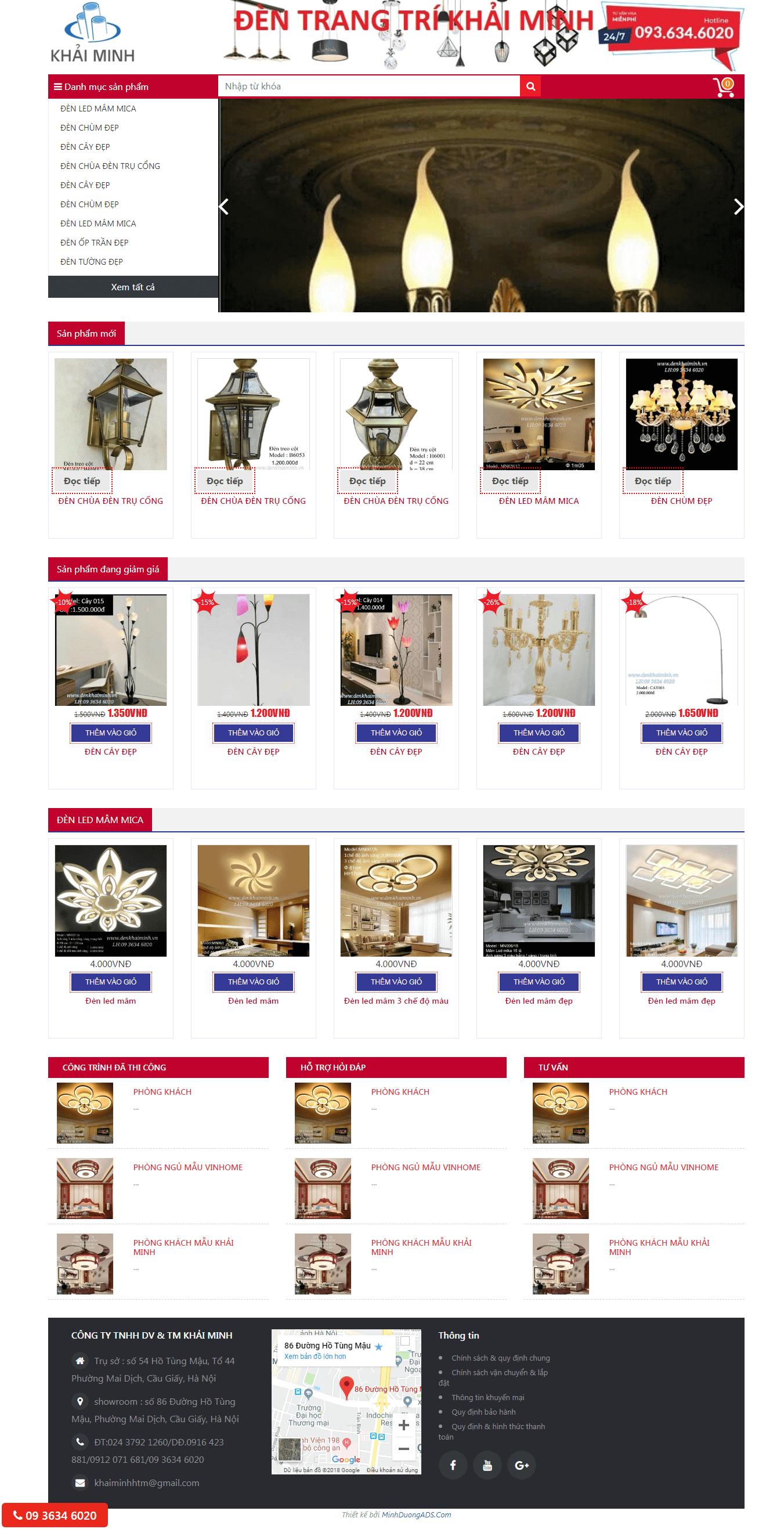 thiết kế web đèn trang trí