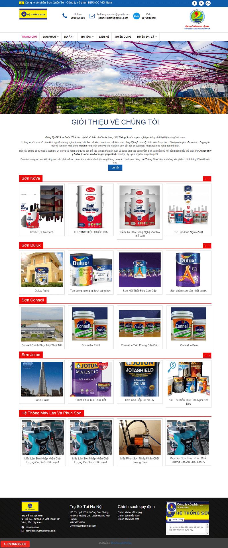Thiết kế website bán sơn chuyên nghiệp chuẩn seo tại Minh Dương ads
