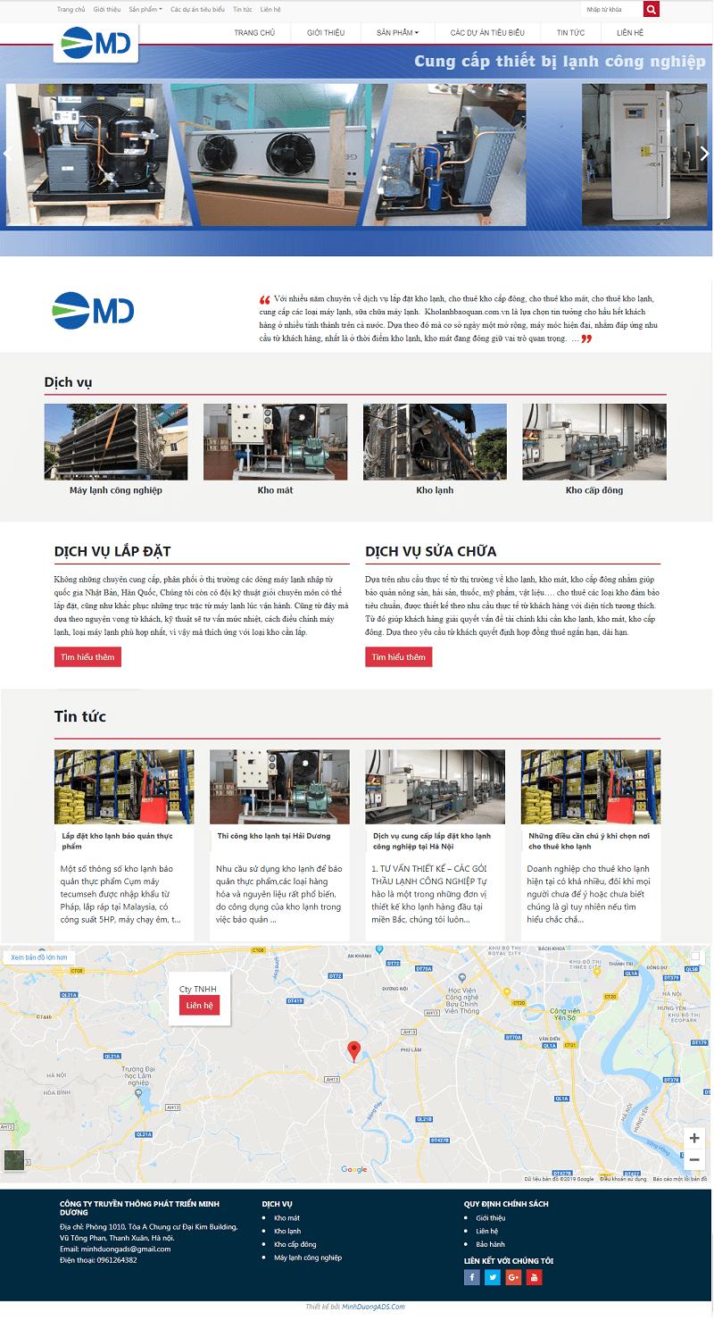 Thiết kế web bảo quản kho lạnh