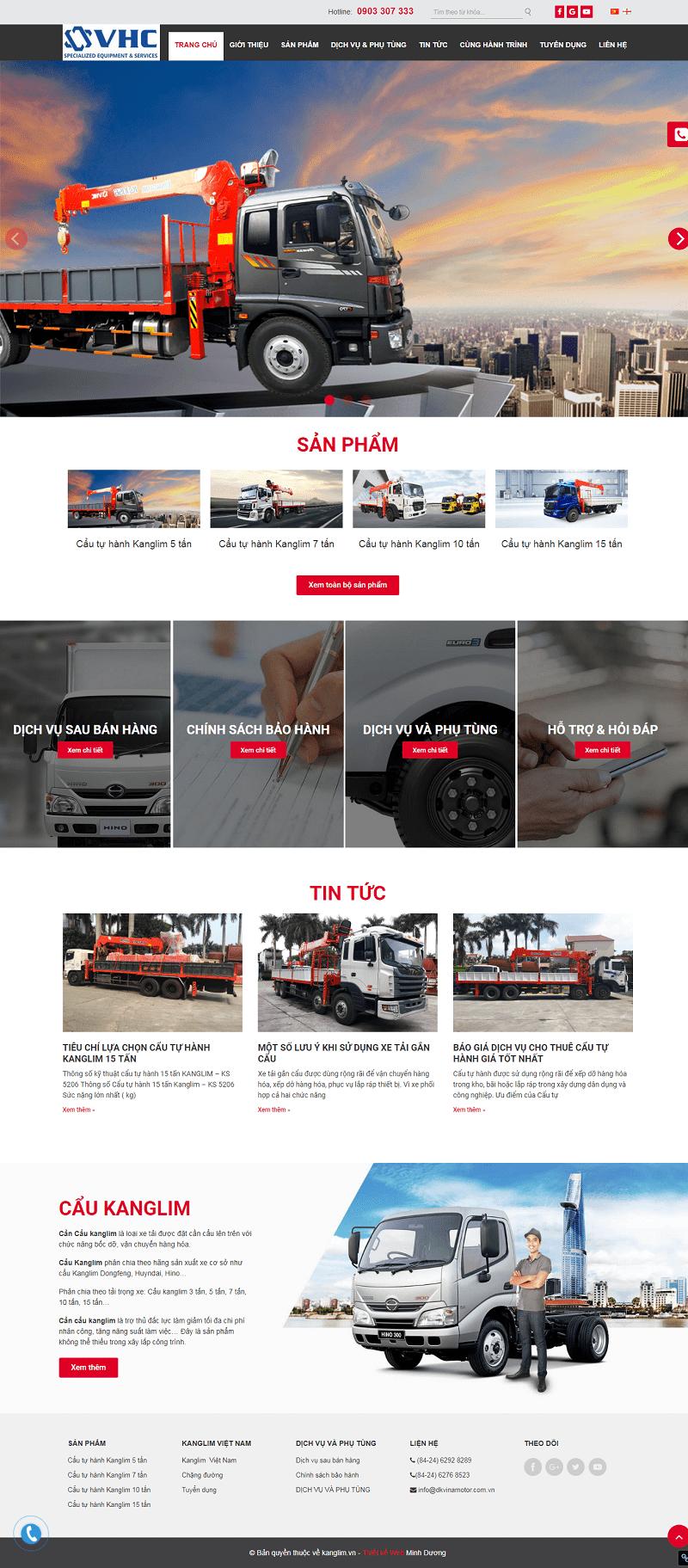 Thiết kế website cẩu tự hành kangLim chuyên nghiệp giá rẻ