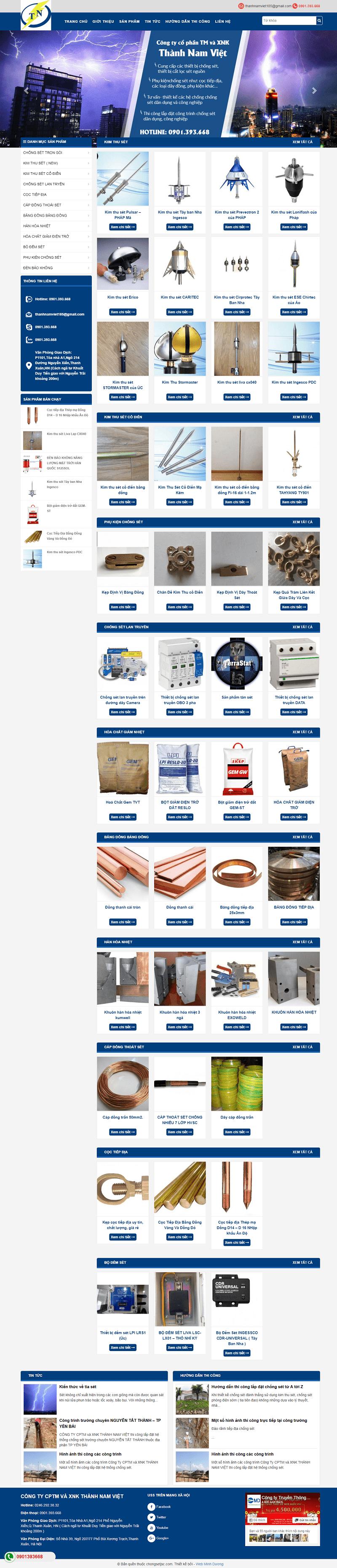 thiết kế website bán thiết bị chống sét
