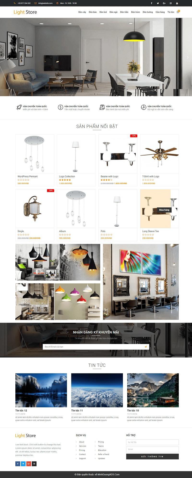 Thiết kế website bán đèn trang trí chuyên nghiệp chuẩn seo giá rẻ