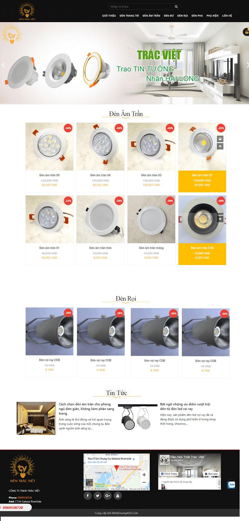 thiết kế website bán đèn