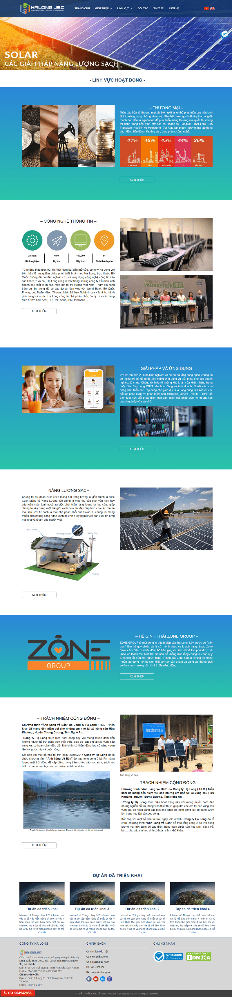 Thiết kế website năng lượng mặt trời chuyên nghiệp
