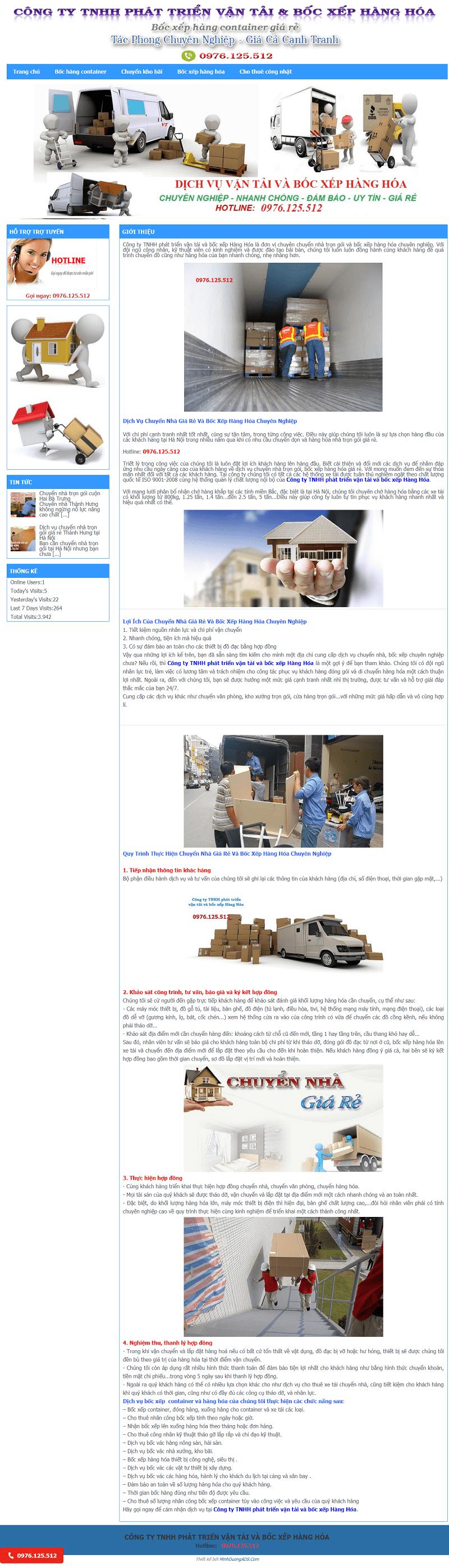 thiết kế website vận chuyển bốc dỡ hàng hóa