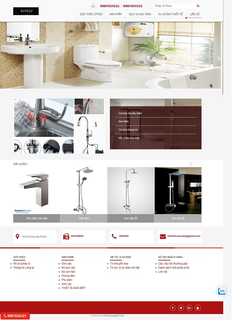 Thiết kế website bán thiết bị vệ sinh giá rẻ| Minh Dương ADS