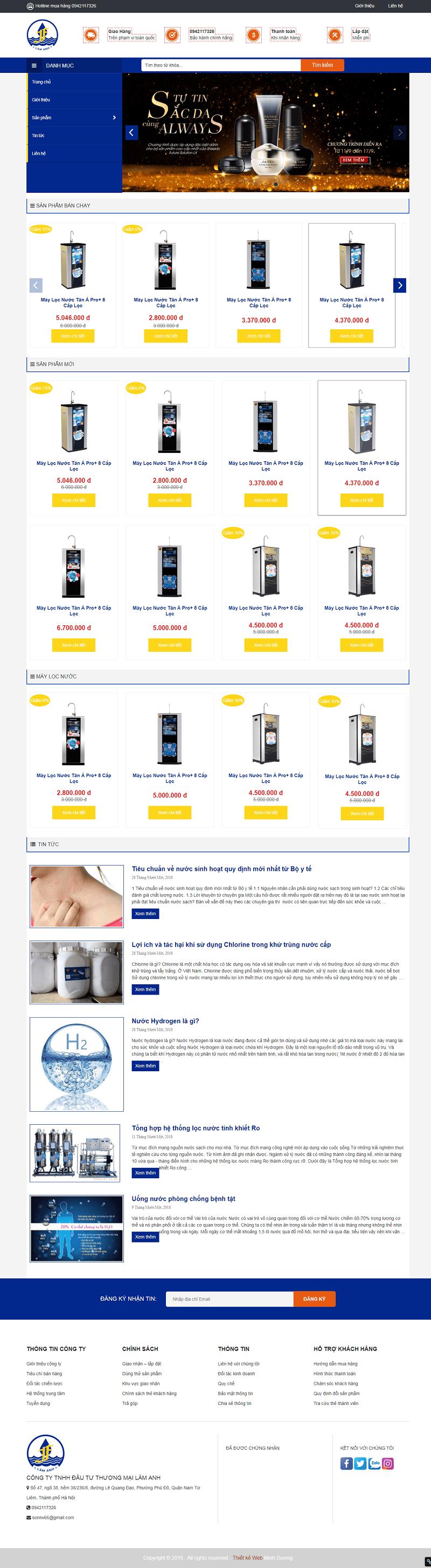 Thiết kế website bán máy lọc nước