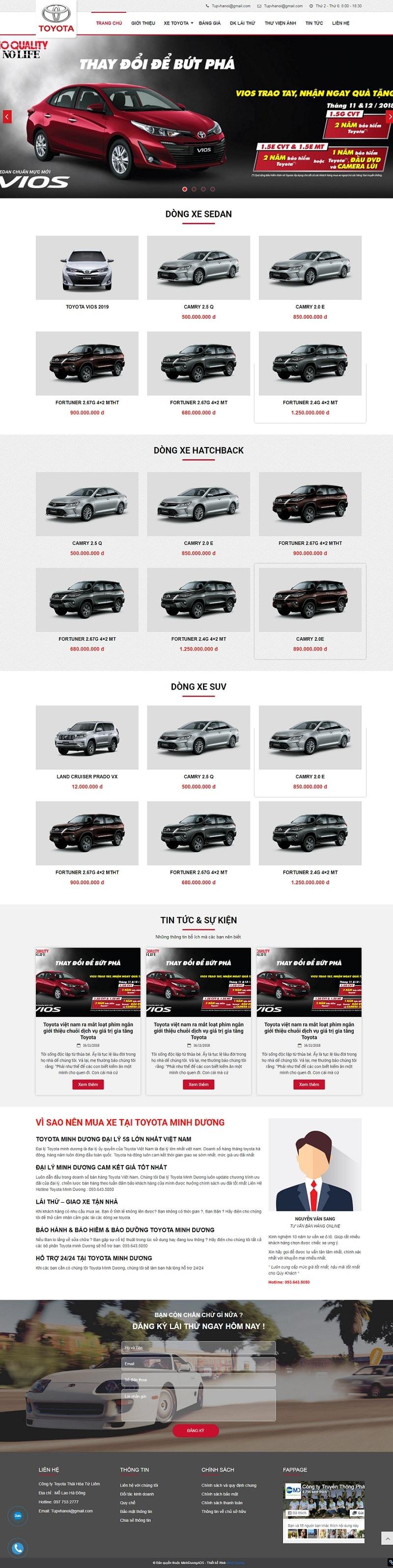 Thiết kế website bán ô tô Toyota chuyên nghiệp giá rẻ