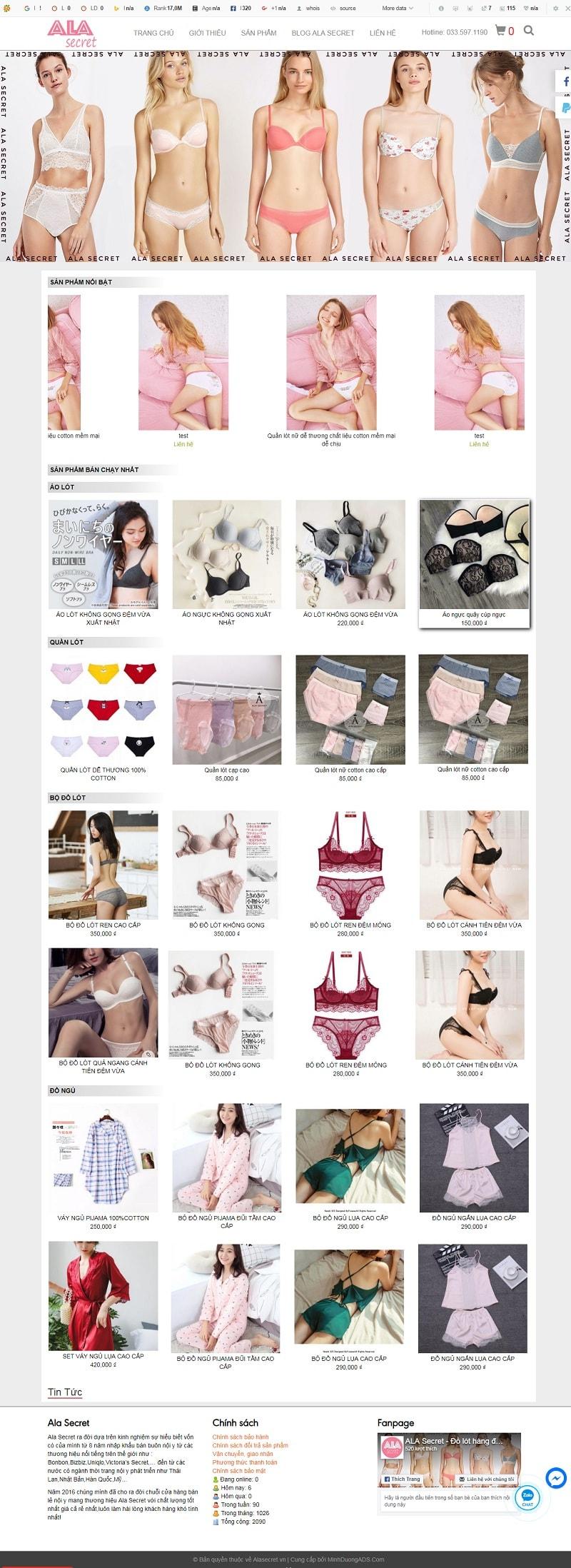 Thiết kế web đồ bikini Ala Secret
