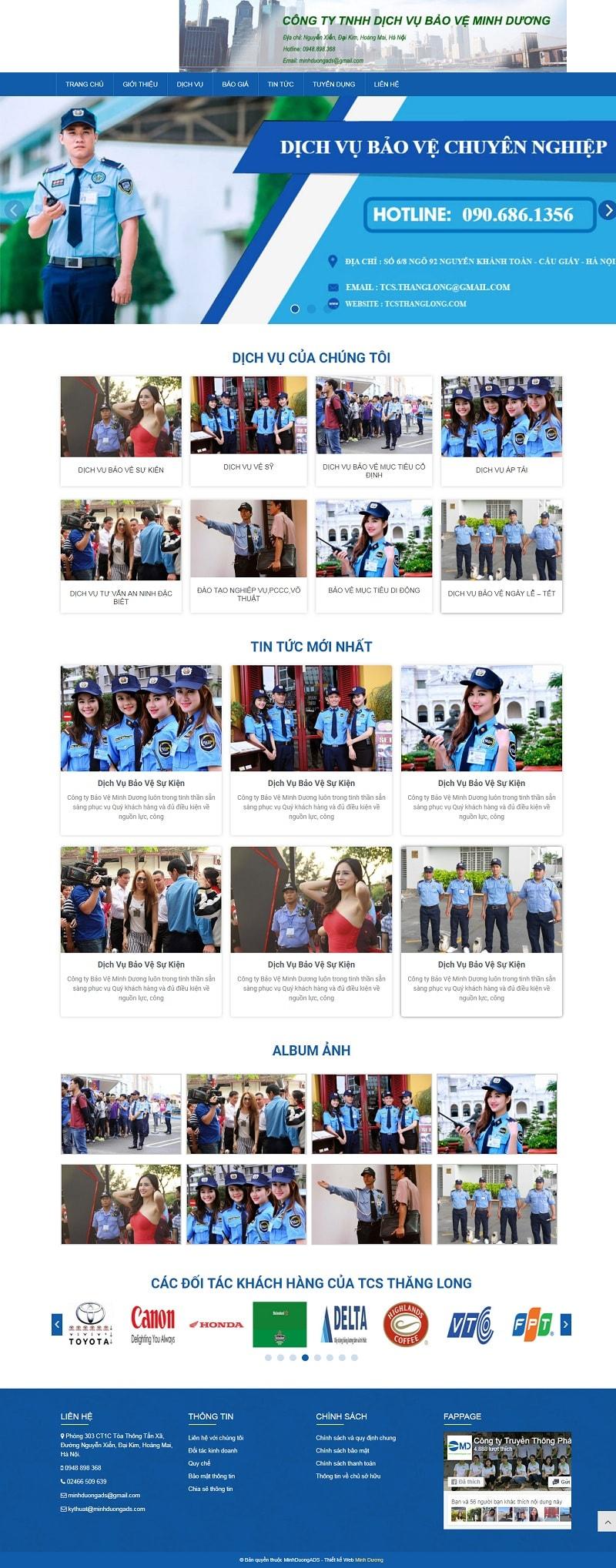 Thiết kế website dịch vụ bảo vệ giá rẻ | Minh Dương ADS
