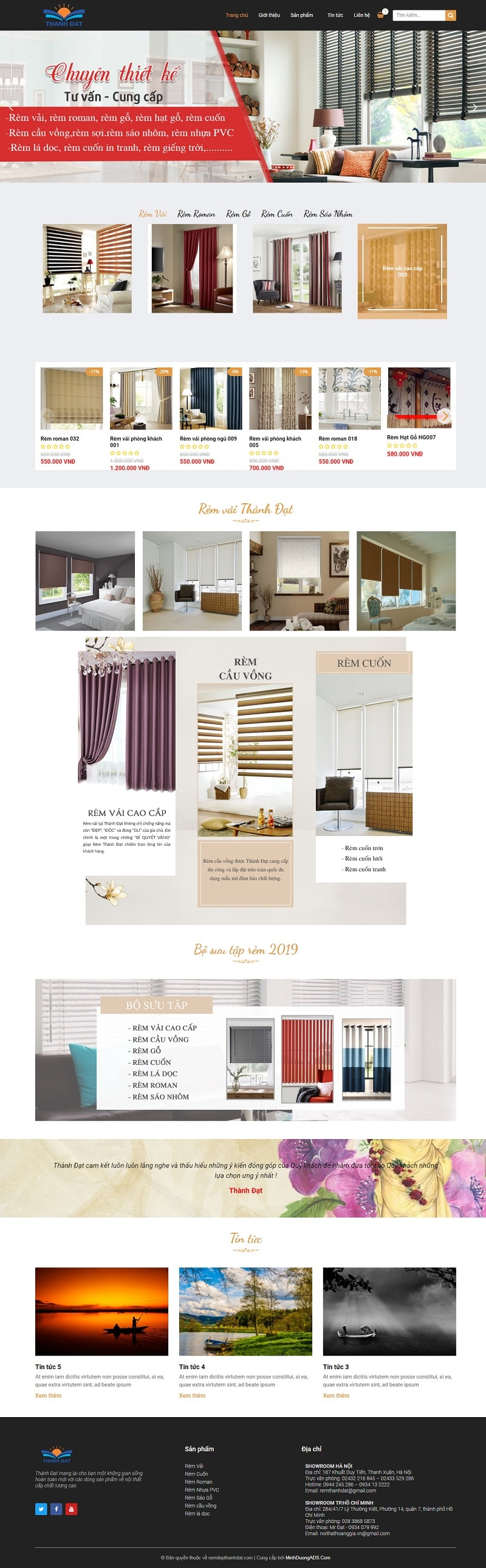 thiết kế website bán rèm cửa đẹp