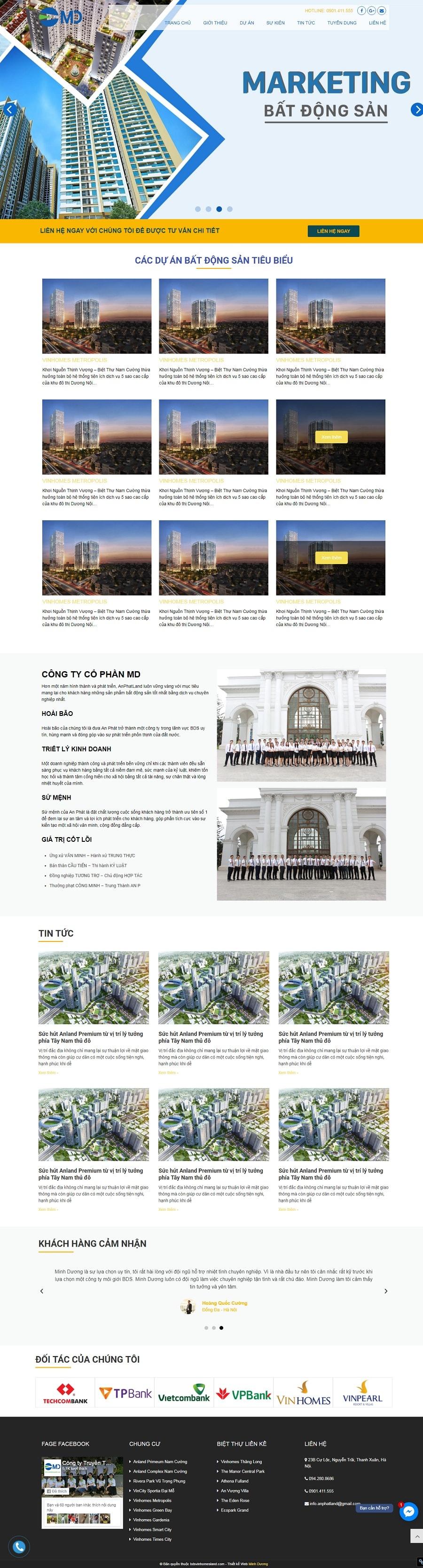 THiết kế Web bất động sản Vinhomesland giá rẻ