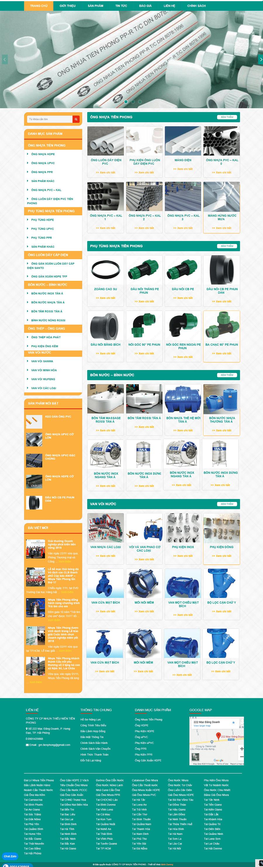 Thiết kế web bán ống nhựa tiền Phong chuyên nghiệp giá rẻ