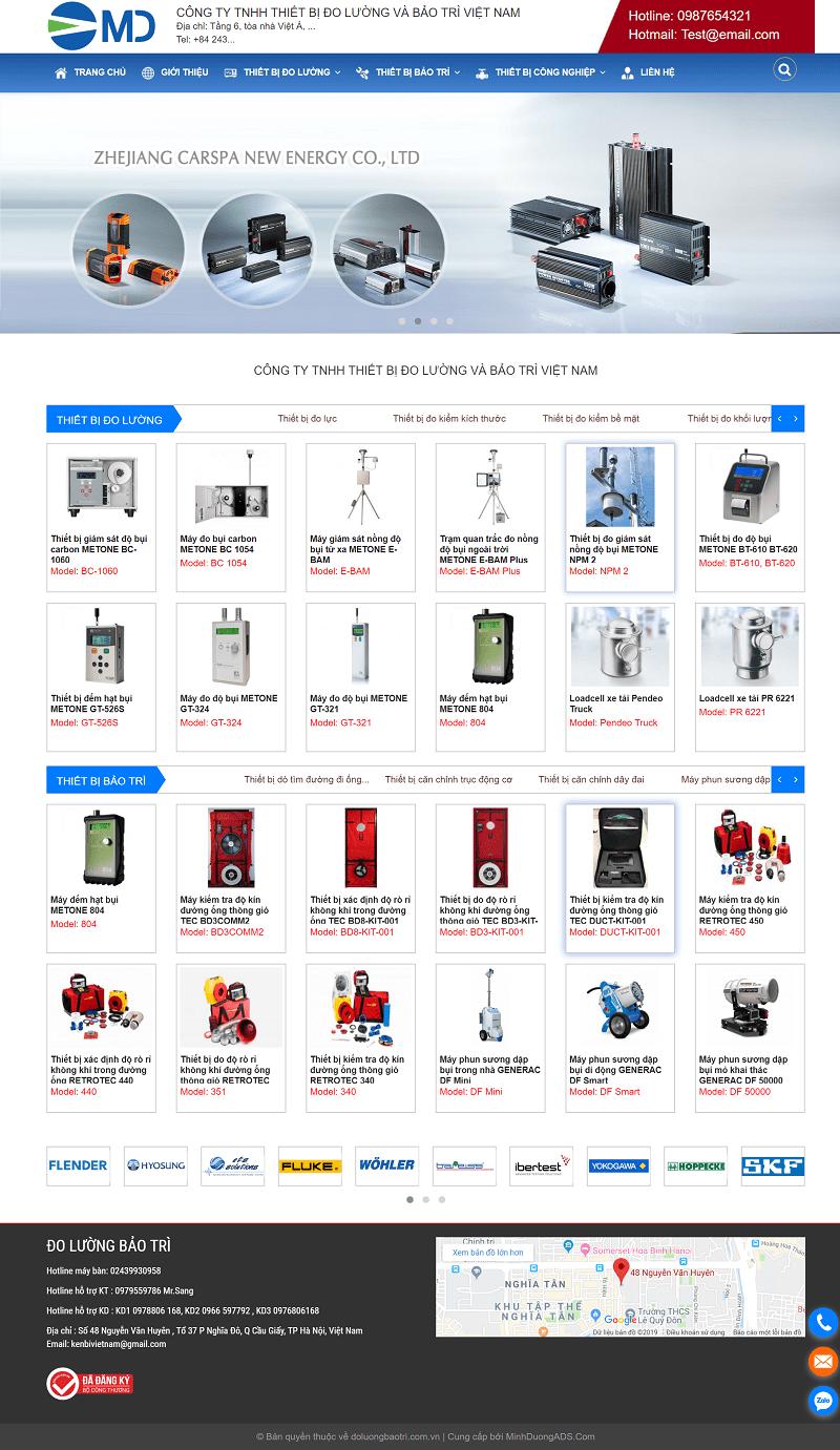 Web bán thiết bị đo lường và bảo trì