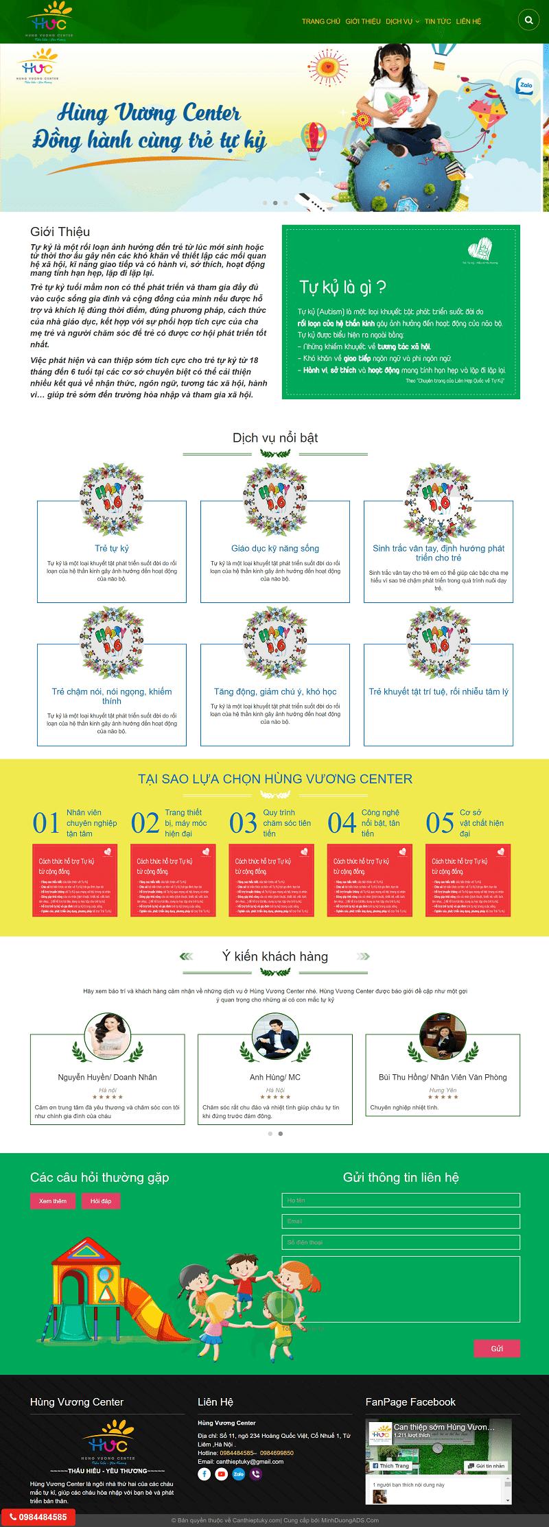 thiết kế website dạy trẻ tự kỷ hùng vương