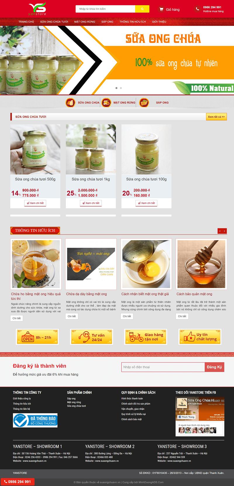 thiết kế website bán hàng sữa ong chúa