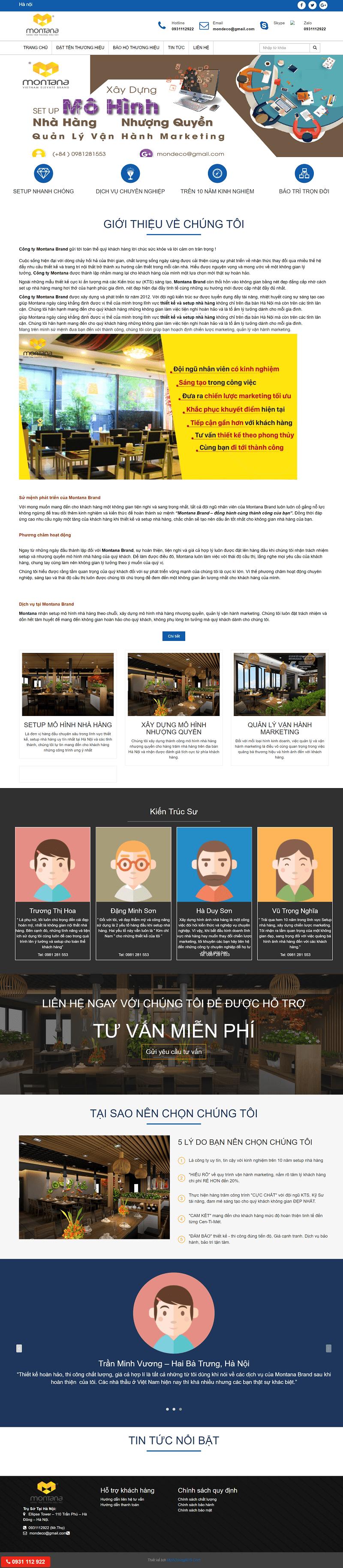thiết kế website setup mô hình nhà hàng