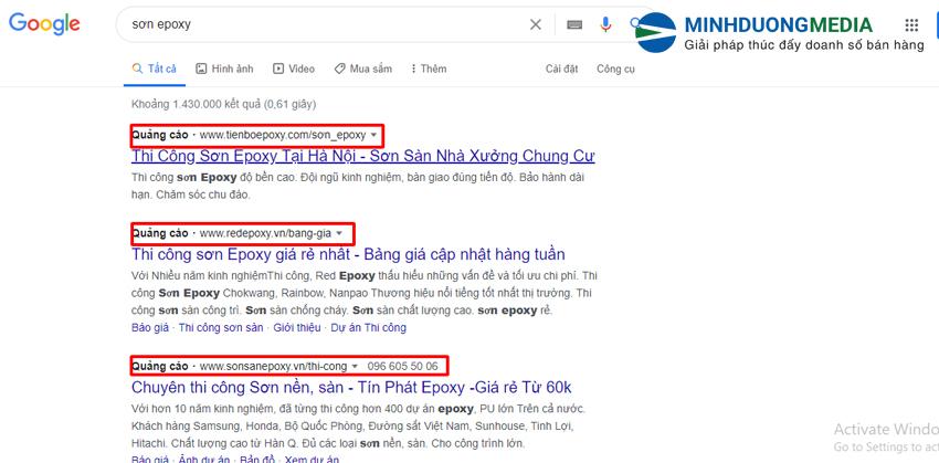 phân biệt kết quả tìm kiếm tự nhiên và quảng cáo google adwords