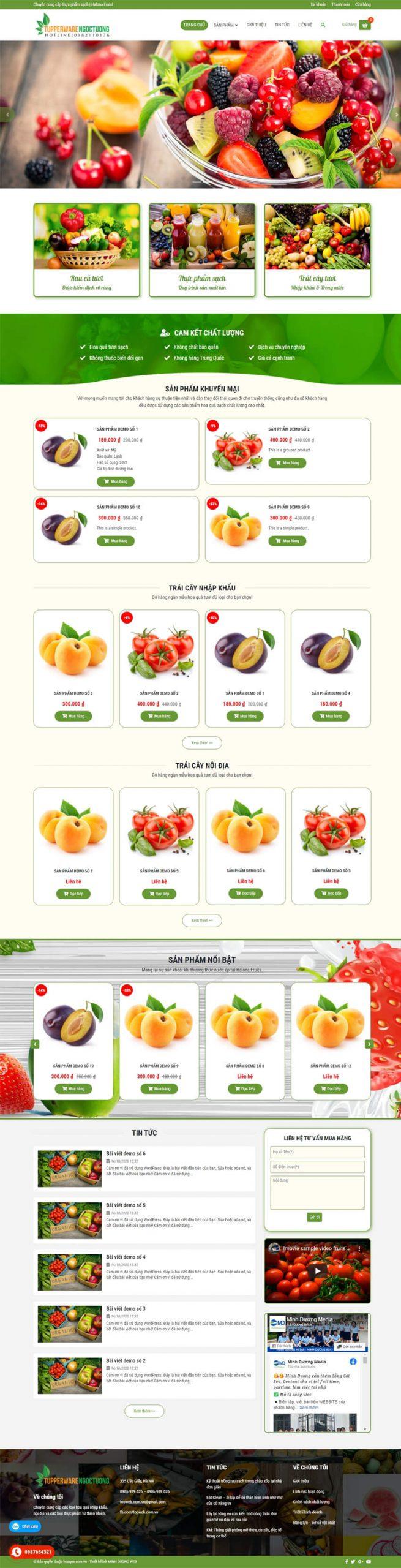 thiết kế web bán hàng hoa quả sạch