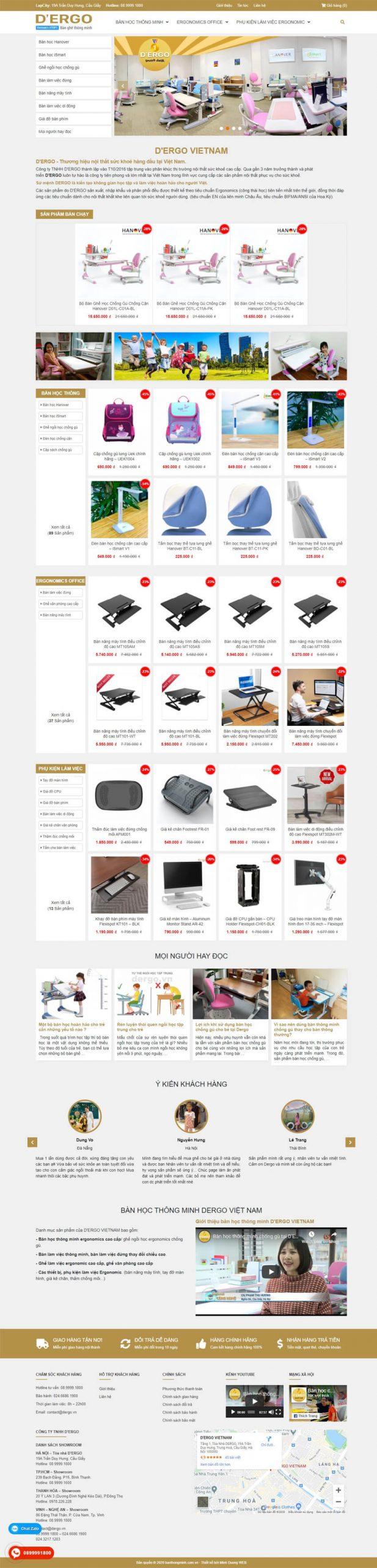 thiết kế web bàn học thông minh dergo