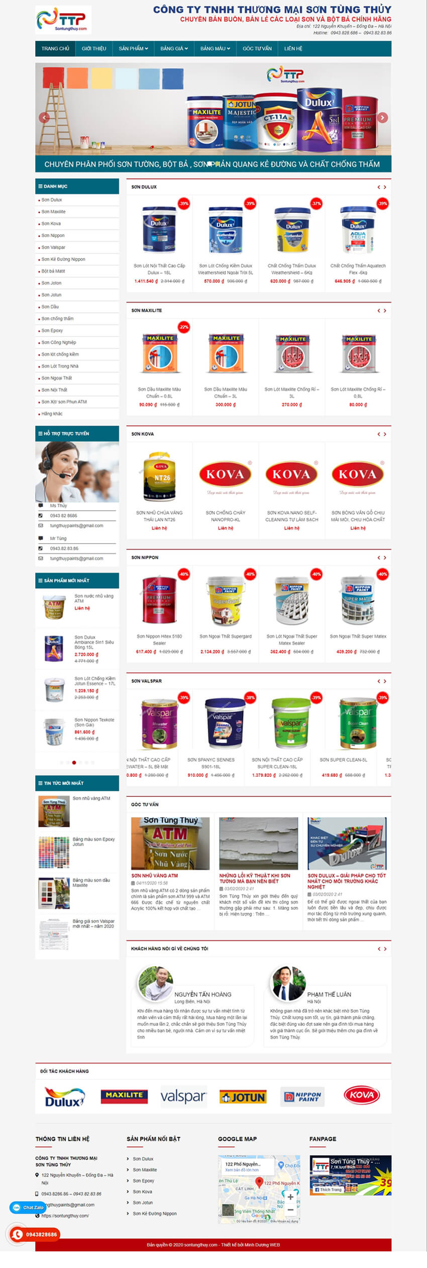 thiết kế web đại lý sơn Tùng Thủy