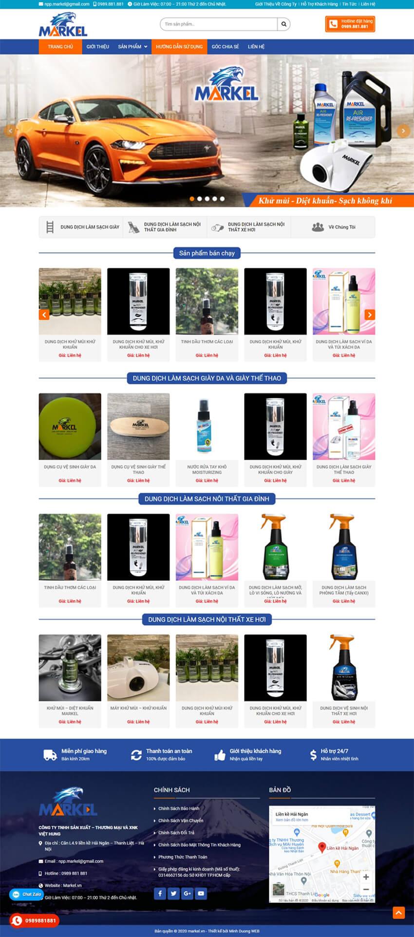thiết kế web gia dụng vệ sinh markel