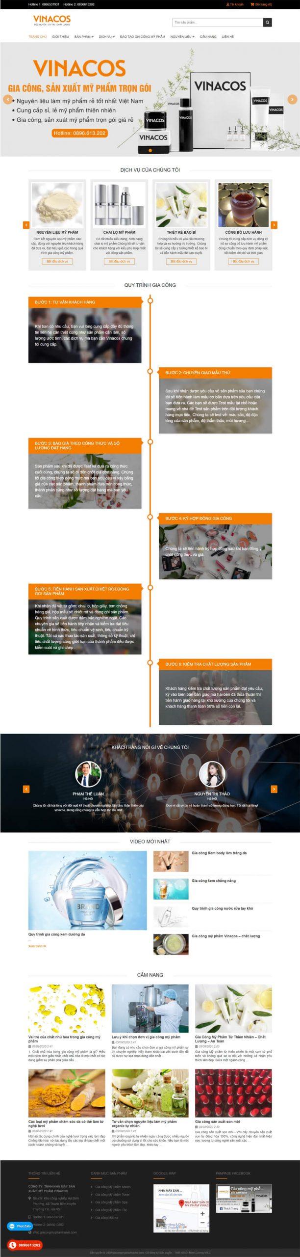 thiết kế website gia công mỹ phẩm hunel
